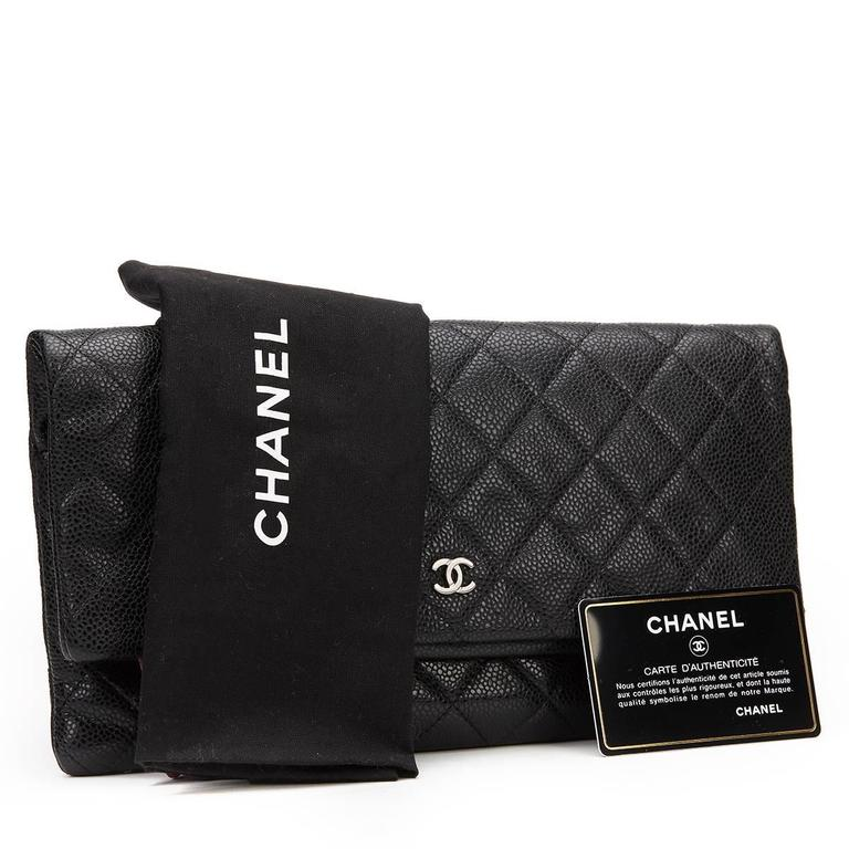 2a5bc2db6c94 2010s Chanel Black Quilted Caviar Leather Beauty CC Foldover Clutch For Sale  4