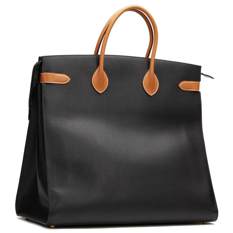 1994 Hermes Black Ardennes Leather & Brown Natural Leather Vintage Airport Bag For Sale 2