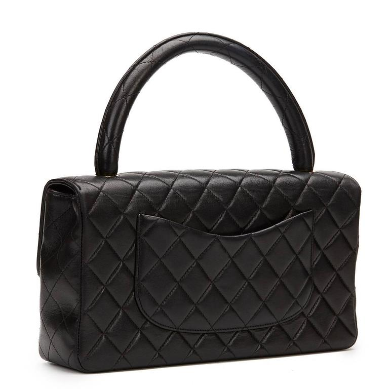 1990s Chanel Black Quilted Lambskin Vintage Timeless Kelly For Sale 2