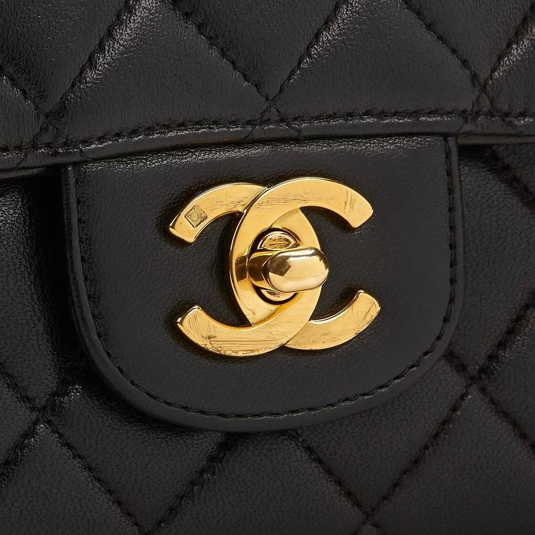 1990s Chanel Black Quilted Lambskin Vintage Timeless Kelly For Sale 3
