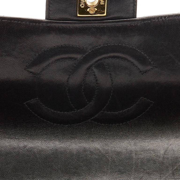 1990s Chanel Black Quilted Lambskin Vintage Timeless Kelly For Sale 5