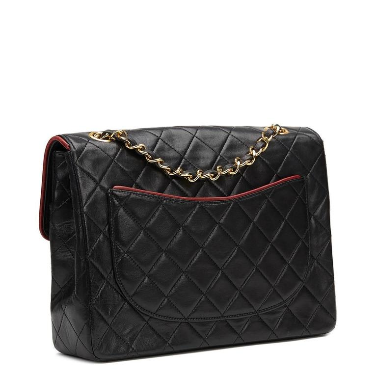 Women's 1980s Chanel Black Quilted Lambskin Vintage Classic Single Flap Bag For Sale