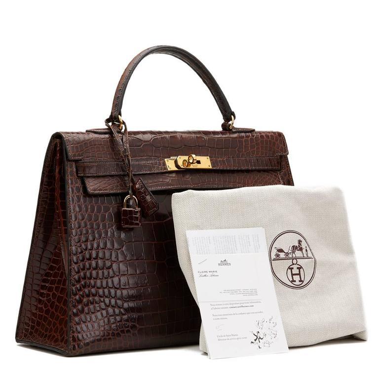 1974 Brown Crocodile Leather Vintage Kelly Sellier 35cm For Sale 5