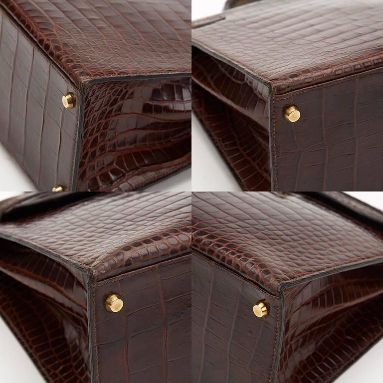 1974 Brown Crocodile Leather Vintage Kelly Sellier 35cm For Sale 4