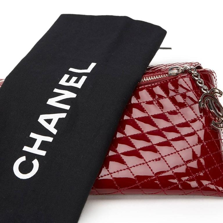 2000s Chanel Burgundy Quilted Patent Leather Geometric Clutch For Sale 4