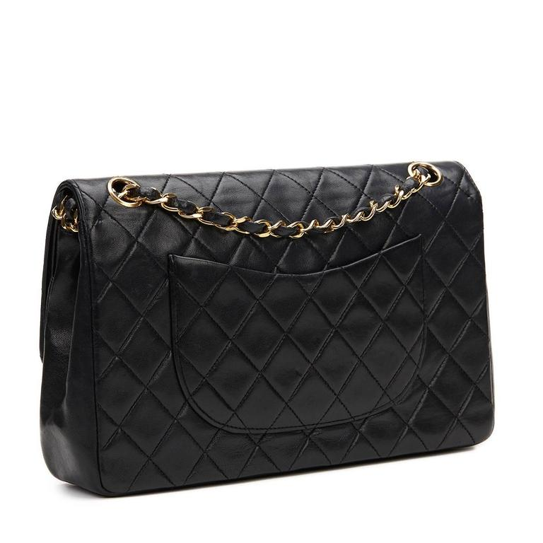 1980s Chanel Black Quilted Lambskin Vintage Medium Classic Double Flap Bag For Sale 1