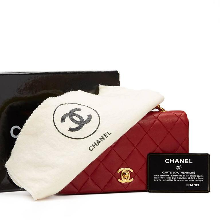 Chanel 1990s Red Quilted Lambskin Vintage Mini Flap Bag 10