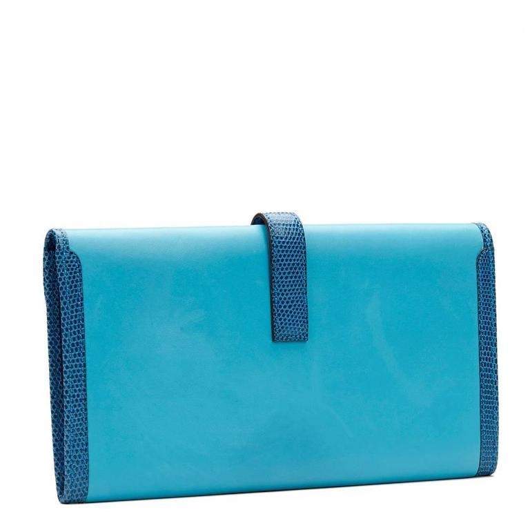 2010 Hermes Blue Aztec Lambskin & Brighton Blue Lizard Jige Elan 29 For Sale 1