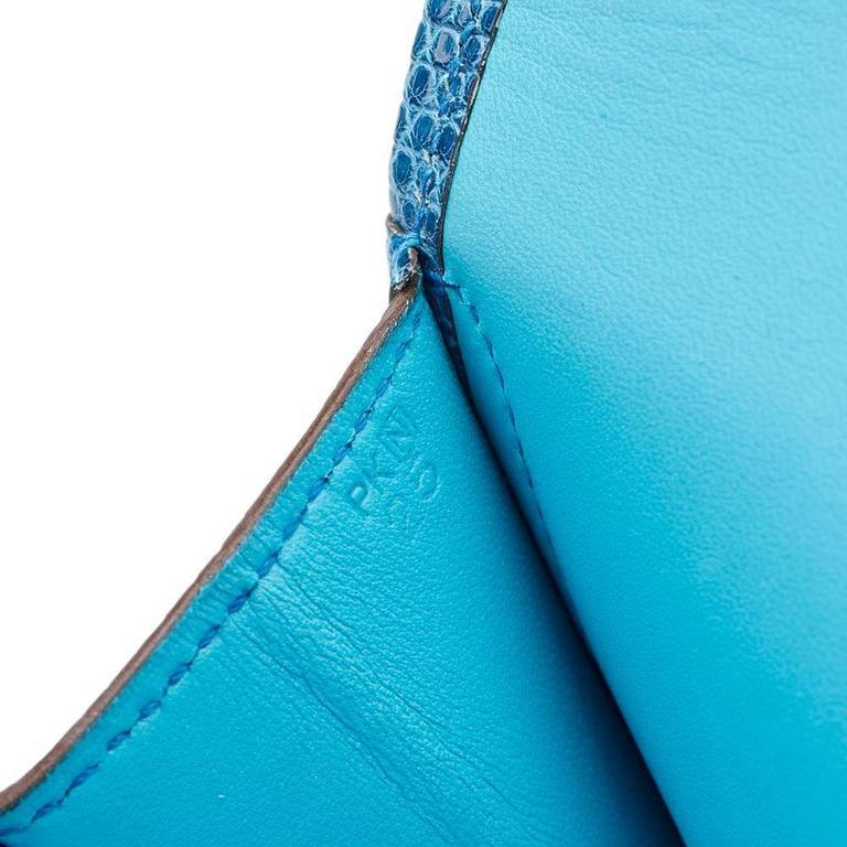 2010 Hermes Blue Aztec Lambskin & Brighton Blue Lizard Jige Elan 29 For Sale 3