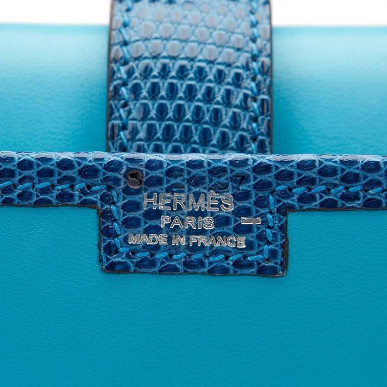2010 Hermes Blue Aztec Lambskin & Brighton Blue Lizard Jige Elan 29 For Sale 4