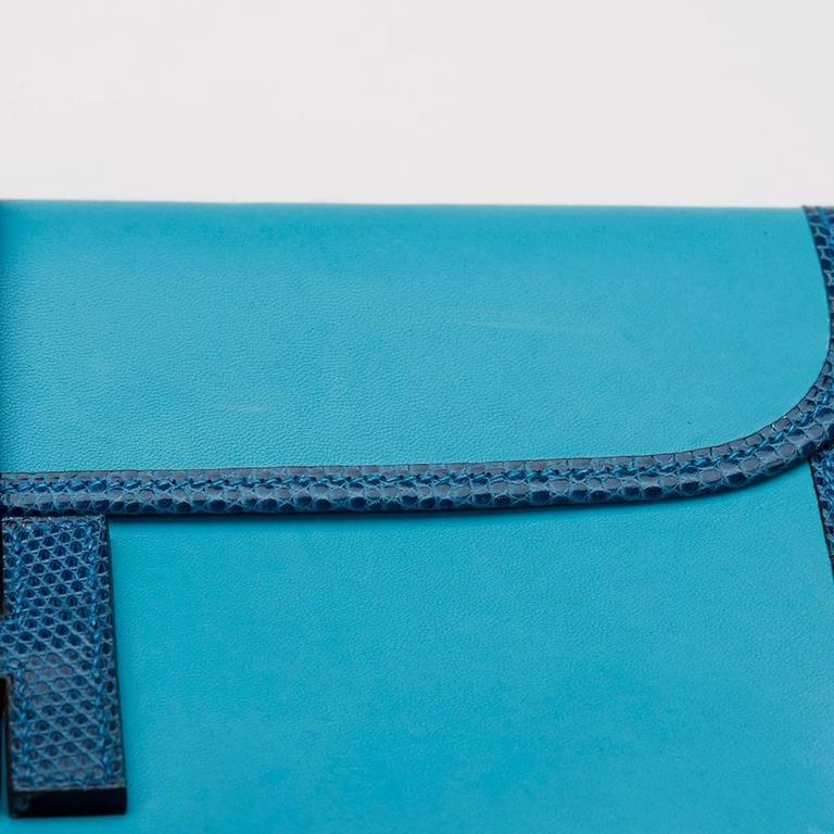 2010 Hermes Blue Aztec Lambskin & Brighton Blue Lizard Jige Elan 29 For Sale 6