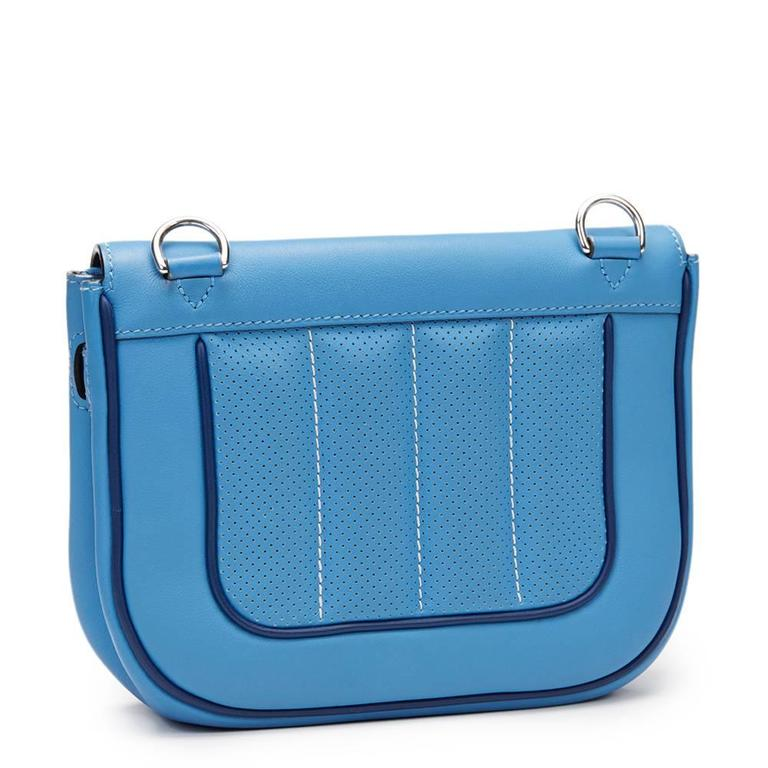 2014 Hermes Perforated Bleu Paradis Swift Leather & Blue Saphir Trim Berline 21 6