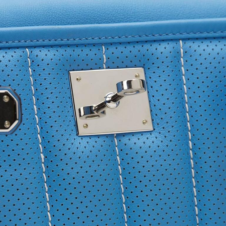 2014 Hermes Perforated Bleu Paradis Swift Leather & Blue Saphir Trim Berline 21 8