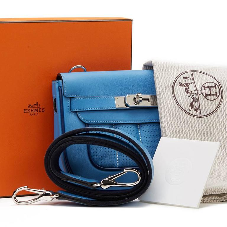 2014 Hermes Perforated Bleu Paradis Swift Leather & Blue Saphir Trim Berline 21 10