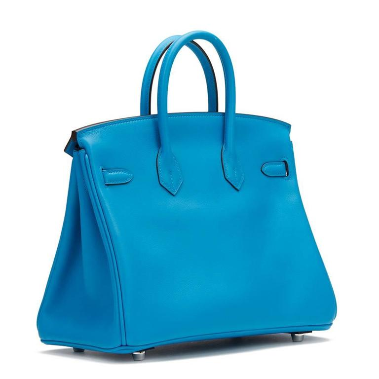 2017 Hermes Blue Zanzibar Swift Leather Birkin 25cm 4