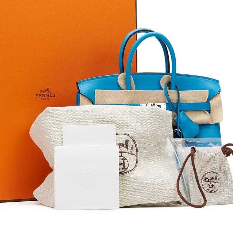 2017 Hermes Blue Zanzibar Swift Leather Birkin 25cm 10