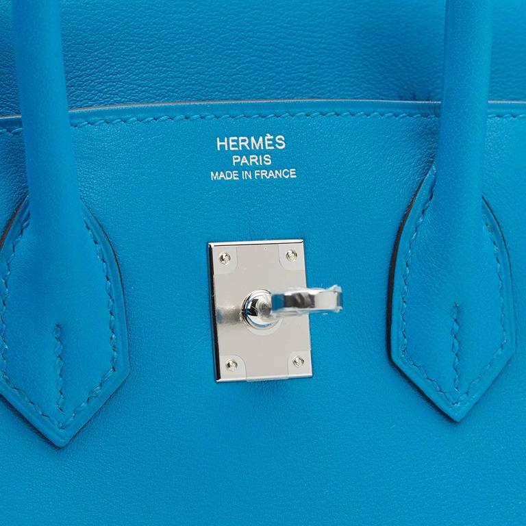 2017 Hermes Blue Zanzibar Swift Leather Birkin 25cm 9