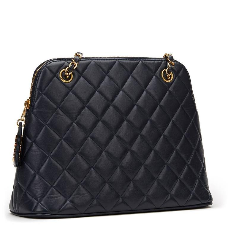 1990s Chanel Navy Quilted Lambskin Vintage Timeless Shoulder Bag 5