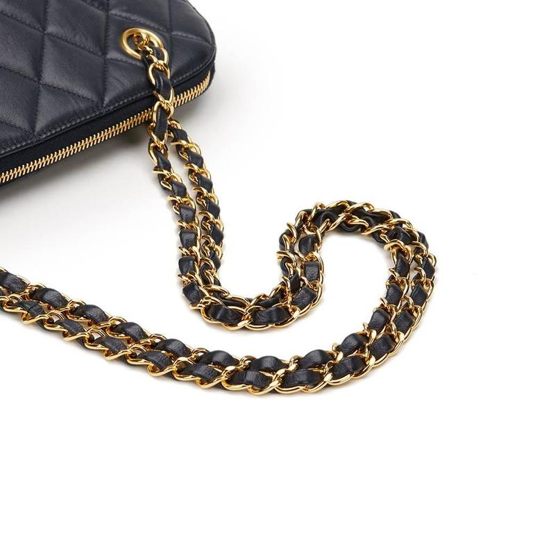 1990s Chanel Navy Quilted Lambskin Vintage Timeless Shoulder Bag 6