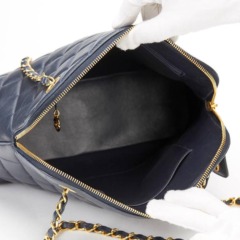 1990s Chanel Navy Quilted Lambskin Vintage Timeless Shoulder Bag 9