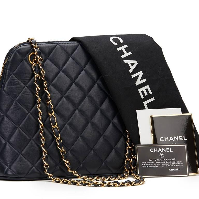 1990s Chanel Navy Quilted Lambskin Vintage Timeless Shoulder Bag 10