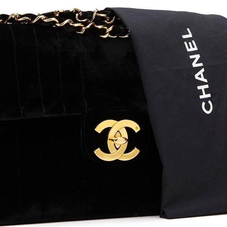 66752e7ac105 1990s Chanel Black Vertical Quilted Velvet Vintage Jumbo XL Flap Bag ...
