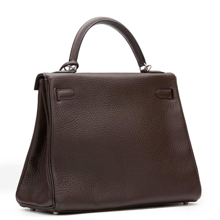 2003 Hermes Chocolate Clemence Leather Kelly Retourne 32cm 6