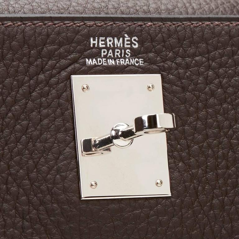 2003 Hermes Chocolate Clemence Leather Kelly Retourne 32cm 8