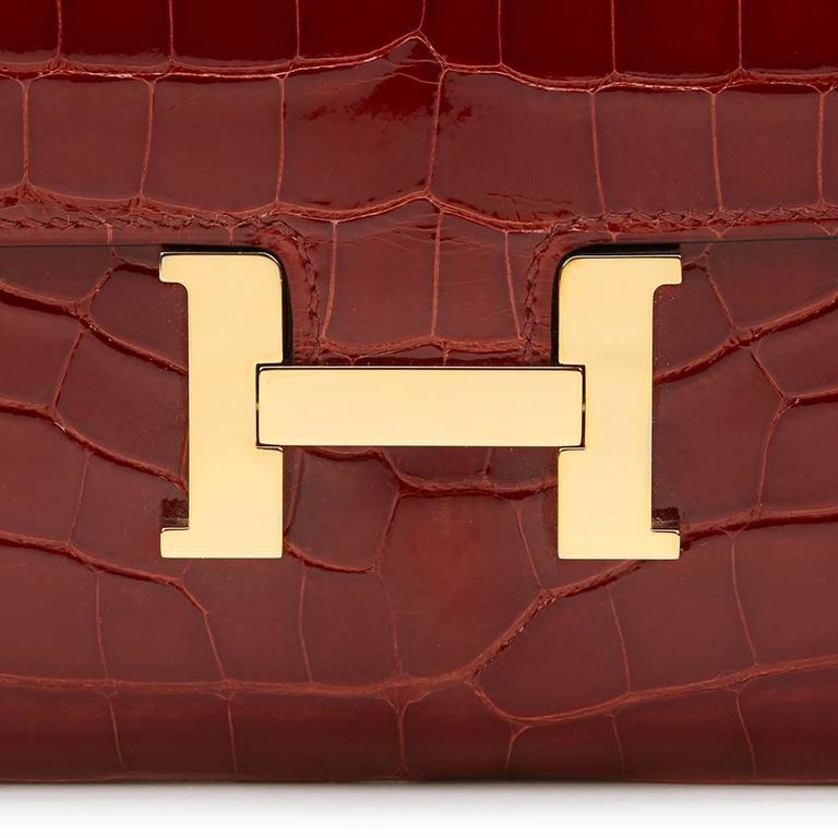 2014 Hermes Rouge H Shiny Alligator Constance Long Wallet 6