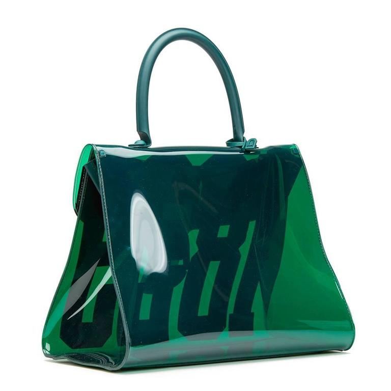 2017 Delvaux Green Tinted Vinyl 1829 Hero Brilliant MM In New Condition For Sale In Bishop's Stortford, Hertfordshire