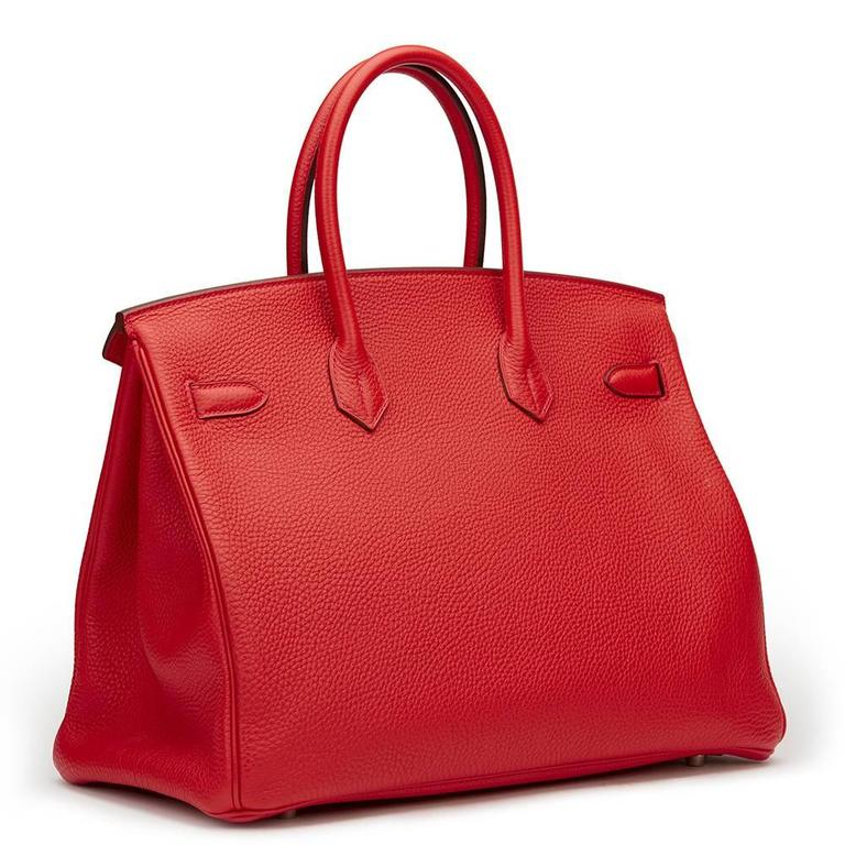 2012 Hermes Vermillion Clemence Leather Birkin 35cm For Sale 1