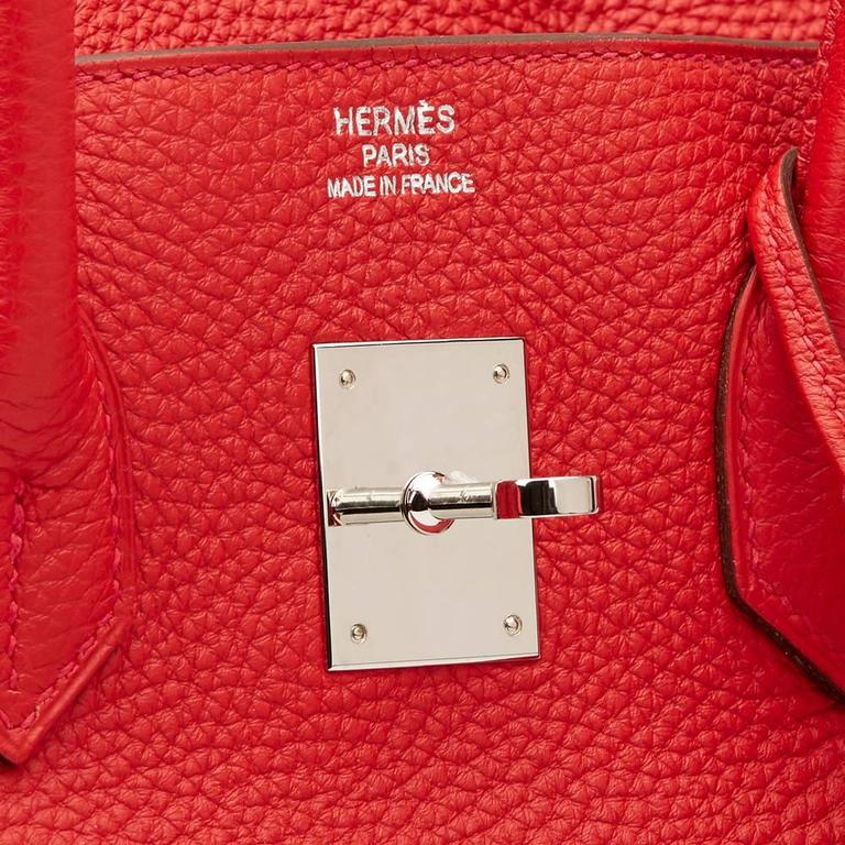 2012 Hermes Vermillion Clemence Leather Birkin 35cm For Sale 3