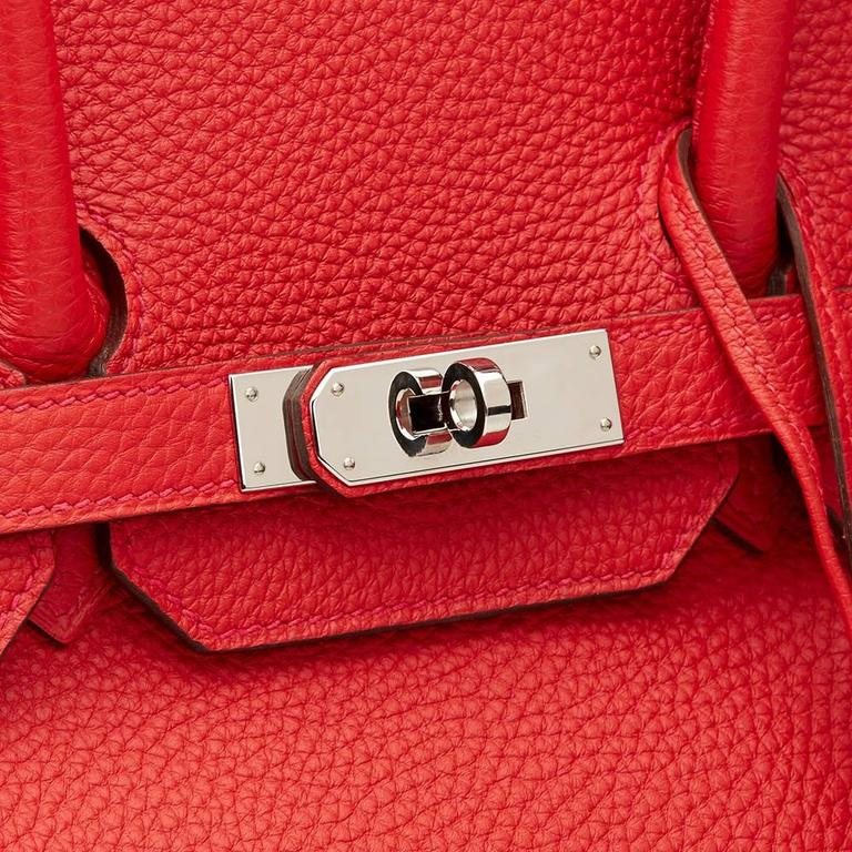 2012 Hermes Vermillion Clemence Leather Birkin 35cm For Sale 4