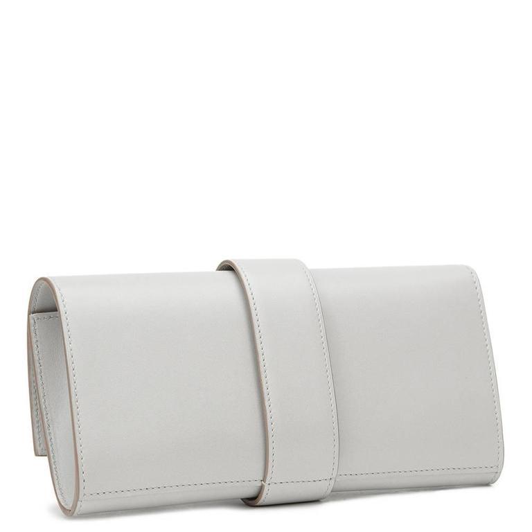 Women's 2015 Hermes Gris Perle Tadelakt Leather Medor 23 Clutch For Sale