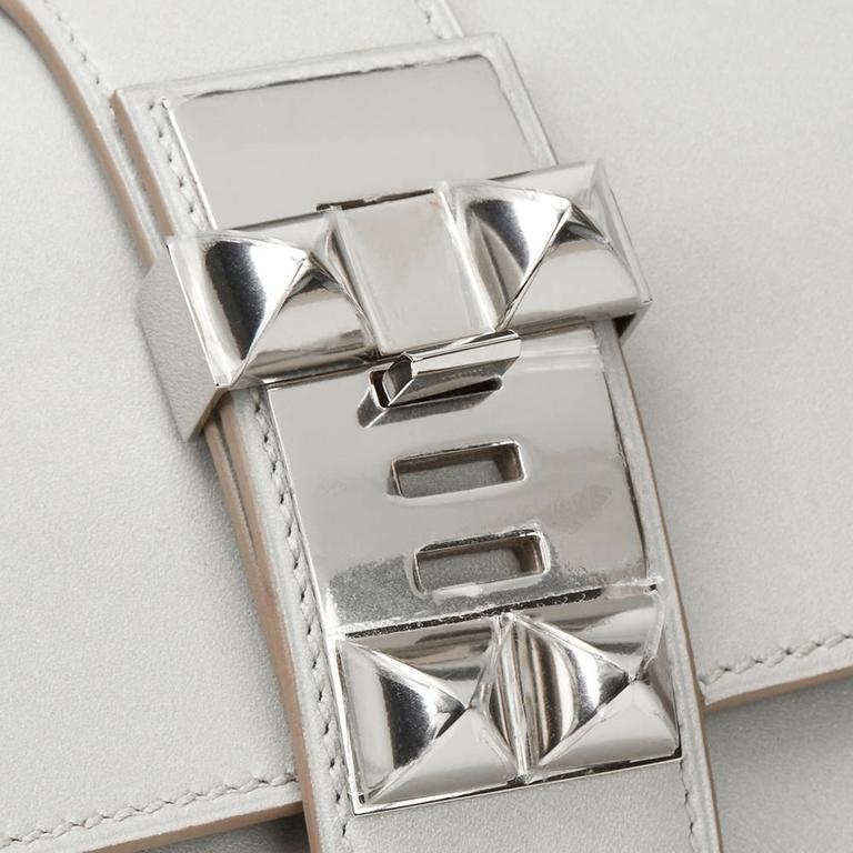 2015 Hermes Gris Perle Tadelakt Leather Medor 23 Clutch For Sale 3