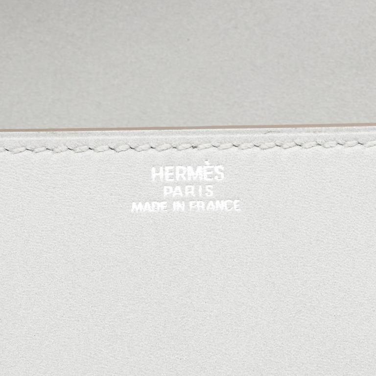 2015 Hermes Gris Perle Tadelakt Leather Medor 23 Clutch For Sale 4