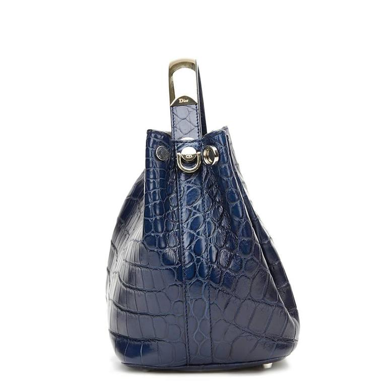 938dc6e7fa8 CHRISTIAN DIOR Marine Crocodile Leather Small Diorific Bucket Bag This CHRISTIAN  DIOR Small Diorific Bucket Bag