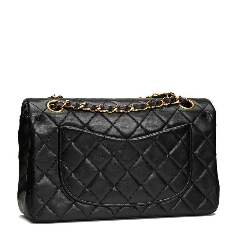 1990s Chanel Black Quilted Lambskin Vintage Small Classic Double Flap Bag 4