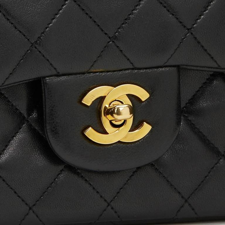 1990s Chanel Black Quilted Lambskin Vintage Small Classic Double Flap Bag 6