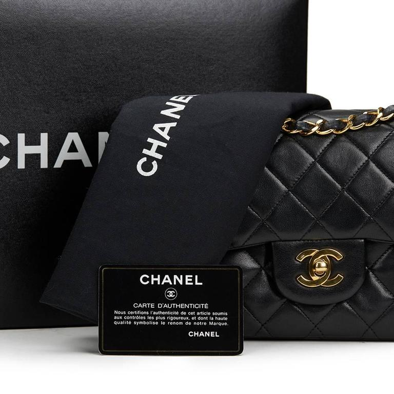 1990s Chanel Black Quilted Lambskin Vintage Small Classic Double Flap Bag 10