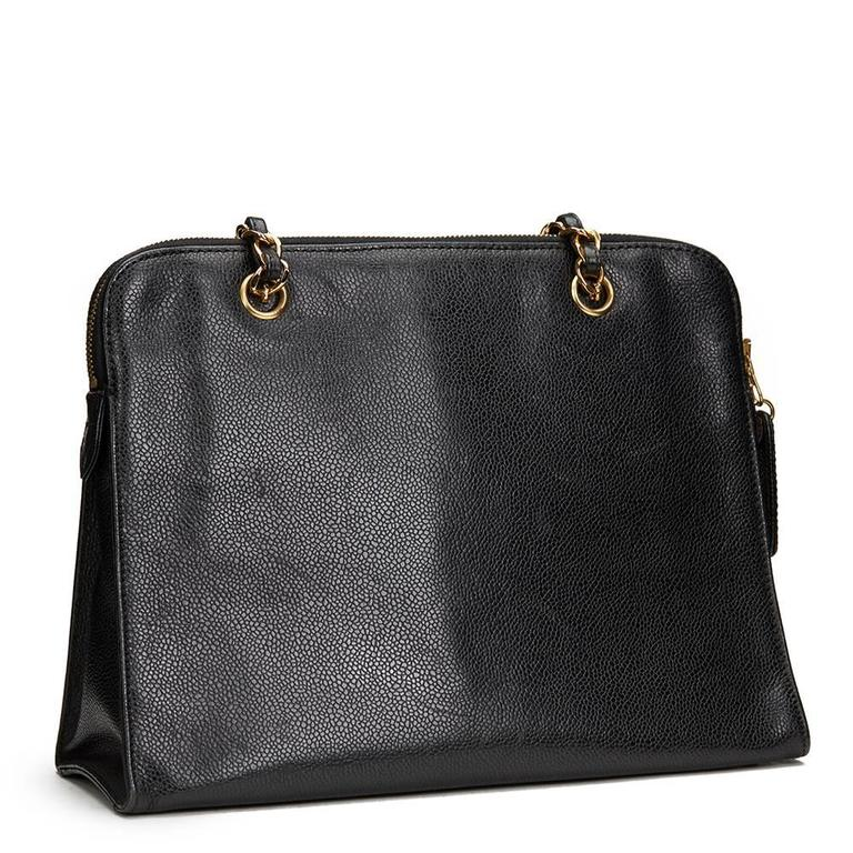 1990s Chanel Black Caviar Leather Vintage Timeless Shoulder Tote For Sale 1 e8cafd0fd3fa4