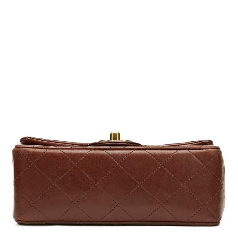 Women's 1990s Chanel Brown Quilted Lambskin Vintage Mini Flap Bag For Sale