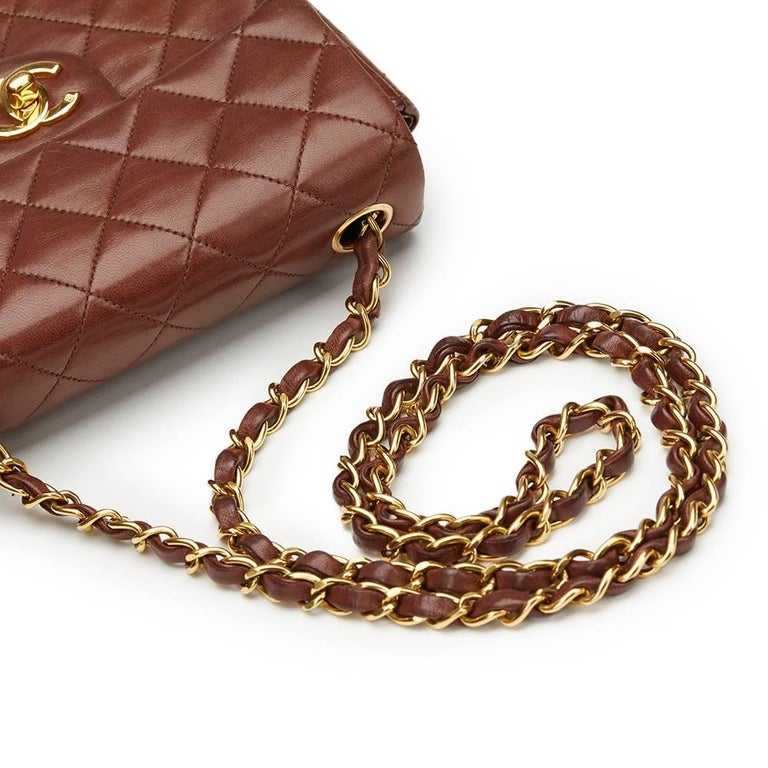 1990s Chanel Brown Quilted Lambskin Vintage Mini Flap Bag For Sale 2