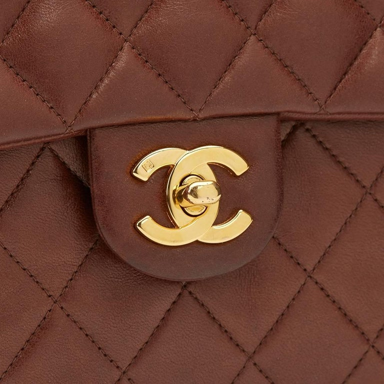 1990s Chanel Brown Quilted Lambskin Vintage Mini Flap Bag For Sale 4