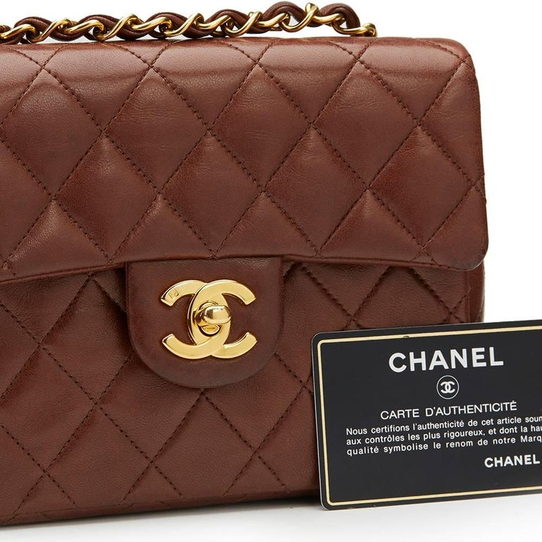 1990s Chanel Brown Quilted Lambskin Vintage Mini Flap Bag For Sale 6