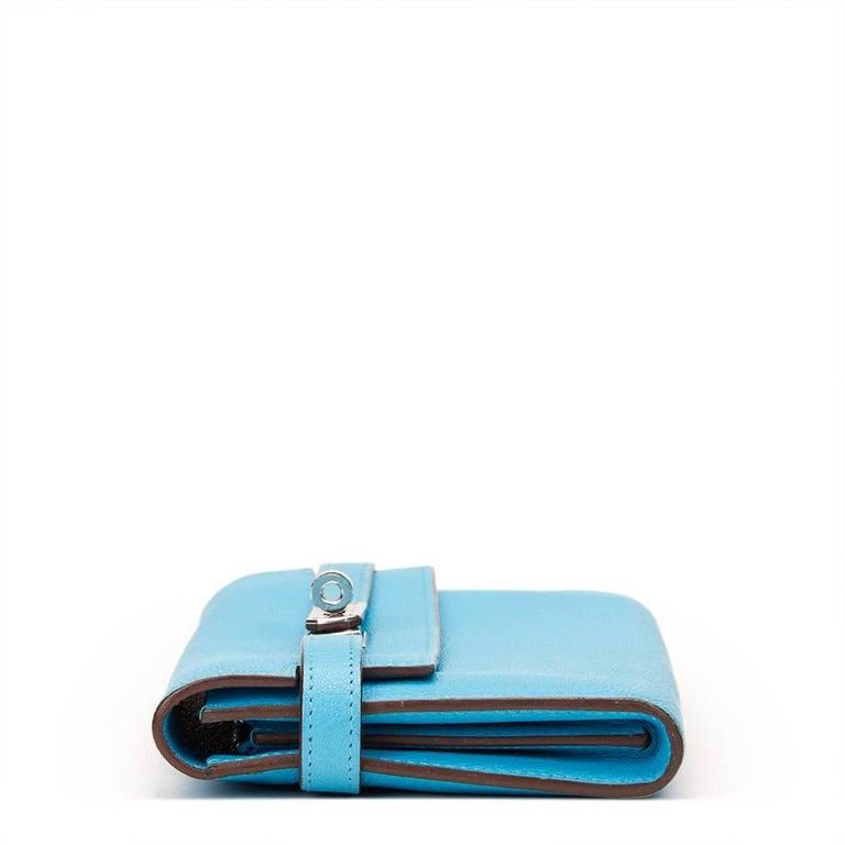 2010 Hermes Blue Aztec Chevre Mysore Leather Kelly Long Wallet 2