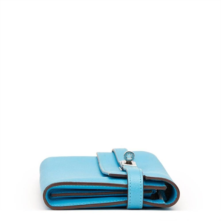 2010 Hermes Blue Aztec Chevre Mysore Leather Kelly Long Wallet 3