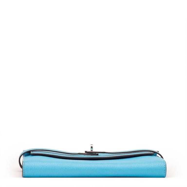 2010 Hermes Blue Aztec Chevre Mysore Leather Kelly Long Wallet 4