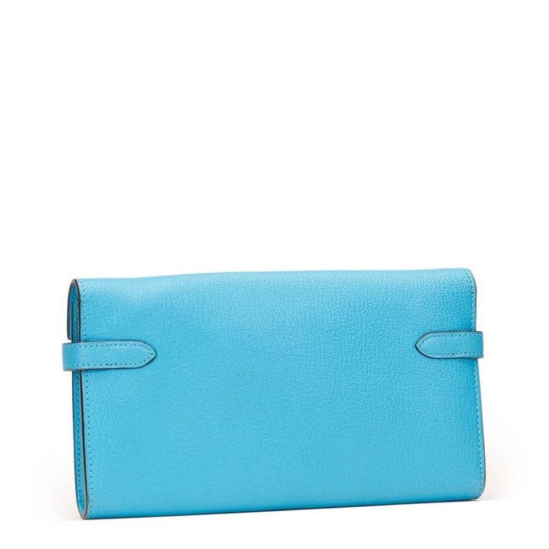 2010 Hermes Blue Aztec Chevre Mysore Leather Kelly Long Wallet 5