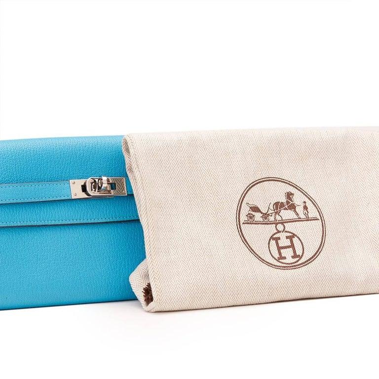 2010 Hermes Blue Aztec Chevre Mysore Leather Kelly Long Wallet 7